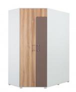 Rohová šatní skříň Anabel - jilm/bílá lux/cappucino
