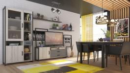 Obývací stěna SYDNEY - dub bílý kraft/černý/šedý