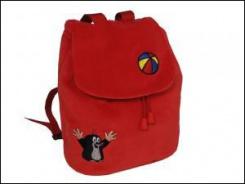 Dětský batůžek krtek - červený s výšivkou