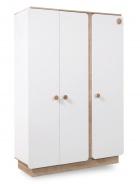 Třídveřová šatní skříň Ellie - bílá / dub světlý