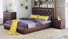 Čalouněná postel s úložným prostorem BEATRICE 180x200 - hnědá