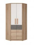 Rohová šatní skříň Aygo - buk pískový / bílá