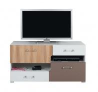 Televizní stolek Anabel 11 - jilm/bílá lux/cappucino