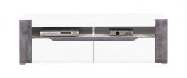 Televizní stolek Brando - bílá / beton / bílý lesk