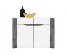 Komoda Brando I - bílá / beton / bílý lesk