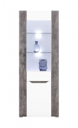 Vitrína Brando - bílá / beton / bílý lesk