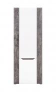 Policová skříň Brando - bílá / beton / bílý lesk