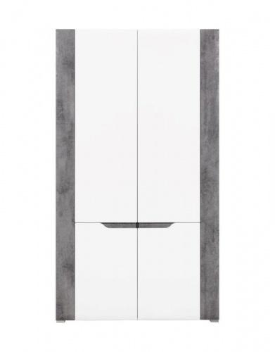 Šatní skříň Brando - bílá / beton / bílý lesk