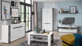Obývací sestava Brando - bílá / beton / bílý lesk