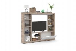 Obývací stěna RONA - bílá matná / šedá kraft