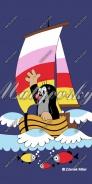 Dětská osuška Krteček na loďce - modrý