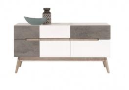 Kombinovaná komoda Scandic III - bílá / beton