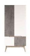 Šatní skříň Scandic - bílá / beton