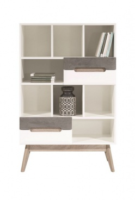Knihovna Scandic - bílá / beton