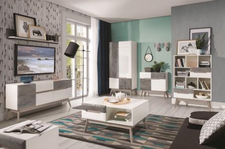 Obývací pokoj Scandic I - bílá / beton