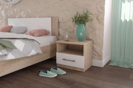 Noční stolek AVRORA (set 2ks) - dub sonoma / bílá