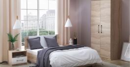 Ložnice AVRORA 1 s postelí 90x200 cm - dub sonoma / bílá