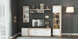 Moderní obývací stěna NEON - dub sanremo/bílá