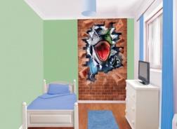 Dětská tapeta na zeď 6-ti dílná - Řev dinosaura