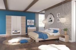 Ložnice AVRORA, s postelí 160x200cm - dub sonoma / bílá