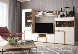 Moderní obývací stěna MARSEL - dub sonoma / bílá