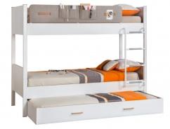 Dětská patrová postel Archie 100x190cm se zásuvkou - bílá / dub světlý