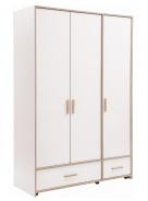 Třídveřová šatní skříň Archie - bílá / dub světlý
