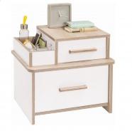 Moderní noční stolek Archie - bílá/dub světlý