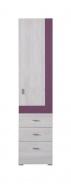Úzká skříň Delbert 4 - borovice/fialová