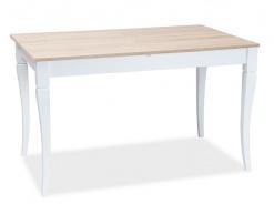Jídelní stůl rozkládací LUDWIK 125x75 - dub sonoma / bílá