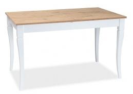 Jídelní stůl rozkládací LUDWIK 125x75 - dub zlatý / bílá