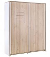 Šatní skříň Archie s posuvnými dveřmi - bílá/dub světlý