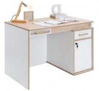 Rozkládací psací stůl Archie - bílá / dub světlý