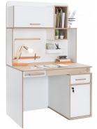 Rozkládací psací stůl Archie s nástavcem - bílá / dub světlý