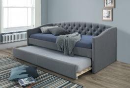 Rozkládací čalouněná postel ALESSIA 90x200 - šedá