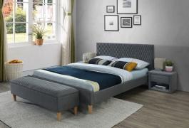 Čalouněná postel AZURRO 160x200 - šedá / dub