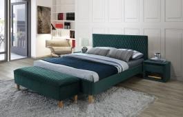 Čalouněná postel AZURRO VELVET 160x200 - zelená / dub