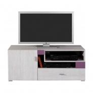 Televizní stolek Delbert 12 - borovice/fialová