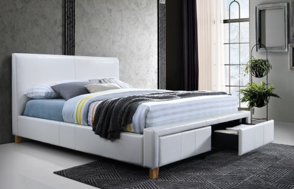 Čalouněná postel NEAPOLI 160x200 - bílá ekokůže