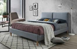 Čalouněná postel ACOMA 160x200 -  šedá / dub