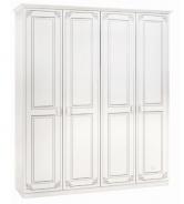Čtyřdveřová šatní skříň Betty - bílá