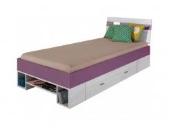 Dětská postel Delbert 90x200cm - borovice/fialová