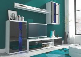 Obývací stěna LITE - bílá / černý lesk