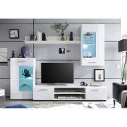 Obývací stěna HENRI NEW - bílá extra vysoký lesk high gloss/bílá