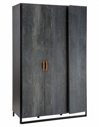 Třídvéřová šatní skříň Nebula - šedá/černá