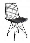 Kovová židle s polstrováním Nebula - černá