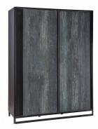 Šatní skříň s posuvnými dveřmi Nebula - šedá/černá