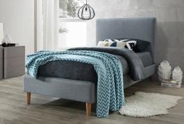 Čalouněná postel ACOMA 90x200 - šedá / dub