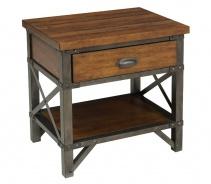Noční stolek HOLVERSON - hnědý topol
