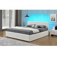 Manželská postel s RGB LED osvětlením JADA NEW 160x200cm -  bílá